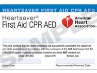 CPR Sample Cert AHA